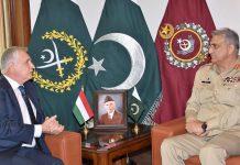 راولپنڈی، آرمی چیف جنرل قمر جاوید باجوہ سے ہنگری کے سفیرملاقات کررہے ہیں