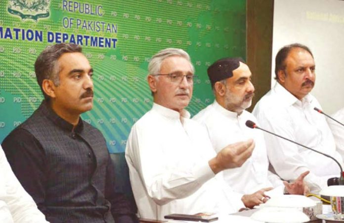 اسلام آباد: وزیر خوراک و زراعت صاحبزادہ محمد محبوب اور جہانگیر ترین پریس کانفرنس کررہے ہیں