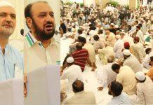 کراچی، جماعت اسلامی پاکستان کے سیکرٹری جنرل امیر العظیم اور حافظ نعیم اجتماع کارکنان سے خطاب کررہے ہیں