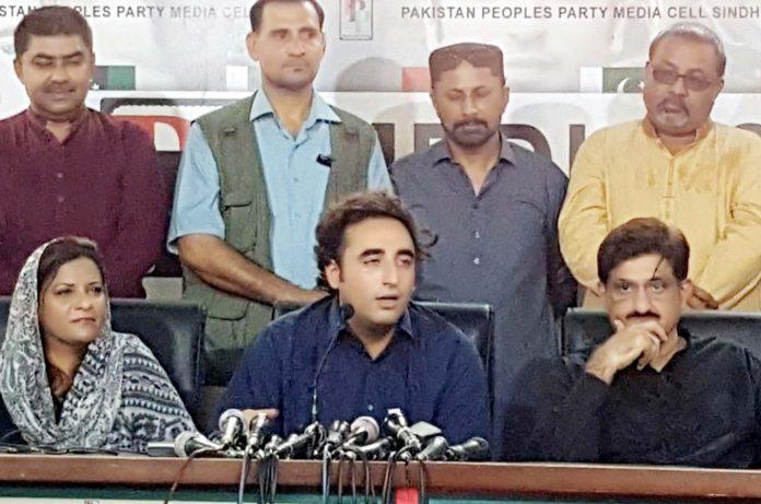 کراچی: پیپلز پارٹی کے چیئرمین بلاول زرداری پریس کانفرنس کررہے ہیں،وزیر اعلیٰ مراد علی شاہ ودیگر بھی موجود ہیں