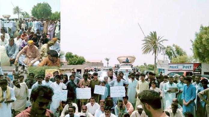 تلہار،پانی کی قلت کے خلاف زمیندار اور ہاری احتجاج کررہے ہیں