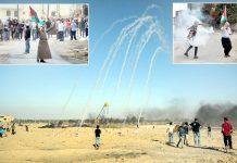 فلسطین: اسرائیلی فوج غزہ میں مظاہرین پر آنسوگیس کی بارش کررہی ہے' مغربی کنارے میں نوجوان شیل واپس صہیونی اہلکاروں کی جانب پھینک رہا ہے