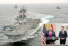 واشنگٹن: امریکی بحری بیڑا یوایس ایس باکسر خلیج فارس میں گشت کرہا ہے' صدر ڈونلڈ ٹرمپ وائٹ ہاؤس میں تقریب سے خطاب کررہے ہیں