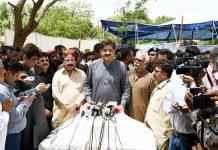 ٹنڈواحمد خان:وزیراعلیٰ سندھ مراد علی شاہ میڈیا سے گفتگو کررہے ہیں