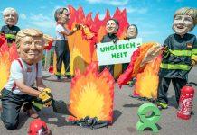 پیرس: جی سیون سربراہ اجلاس کے موقع پر مظاہرین نے عالمی رہنماؤں کے کارٹون نصب کررکھے ہیں
