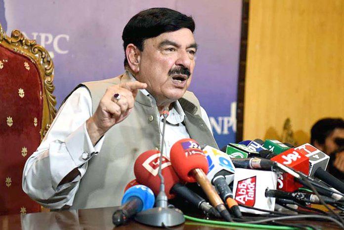 اسلام آباد: وزیرریلوے شیخ رشید احمد پریس کانفرنس کررہے ہیں