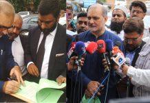امیر جماعت اسلامی کراچی حافظ نعیم الرحمن سندھ ہائی کورٹ میں کے الیکٹرک کے خلاف پٹیشن دائر کرنے کے بعد میڈیا سے گفتگو کررہے ہیں، دوسری جانب پٹیشن پر دستخط کررہے ہیں