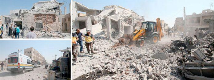 ادلب: شامی حزب اختلاف کے زیر انتظام قصبے سراقب پر اسدی فوج کی بم باری سے تباہ ہونے والے مکانات کا ملبہ ہٹایا جارہا ہے
