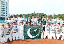 ایشین بیس بال چیمپئن شپ جیتنے کے بعد پاکستان انڈر15کھلاڑیوں کا گروپ فوٹو