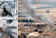 ادلب: مزاحمت کاروں کے زیرانتظام علاقے پر روسی اور اسدی افواج کی بم باری کے بعد دھواں اٹھ رہا ہے' رضاکار ملبے میں لاشیں اور زخمی تلاش کررہے ہیں