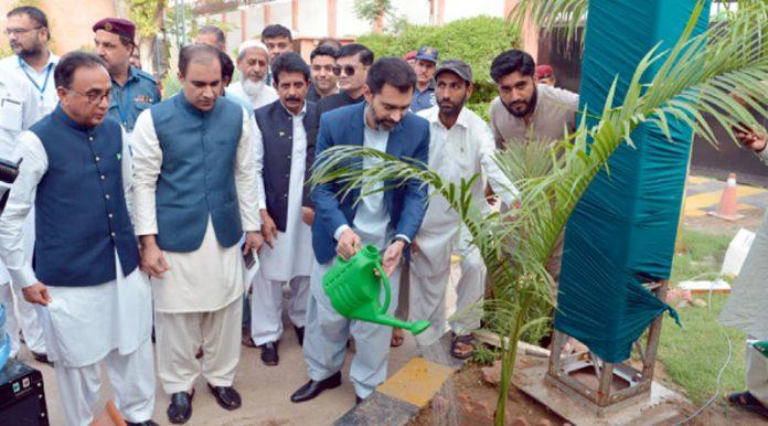 گورنر اسٹیٹ بینک ڈاکٹر رضا باقر شجر کاری مہم میں ایک پودا لگا رہے ہیں