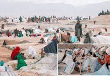 کابل: افغانستان میں خانہ جنگی اور قحط کے باعث نقل مکانی کرنے والے سیکڑوں خاندان کھلے آسمان تلے رہنے پر مجبور ہیں