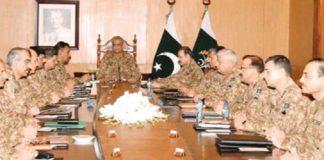 راولپنڈی: آرمی چیف جنرل قمر باجوہ کشمیر کی صورتحال کے حوالے سے کور کمانڈرزکانفرنس کی صدارت کررہے ہیں