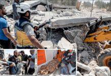 ادلب: شہری دفاع کے رضاکار روسی اور اسدی بمباری سے تباہ ہونے والی عمارت کے ملبے سے لاشیں نکال رہے ہیں