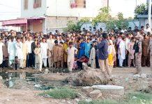 احسن آباد میں تجاوزات کے خلاف آپریشن کے دوران ہونے والی ہنگامہ آرائی کے بعد رینجرز کی بھاری نفری تعینات ہے