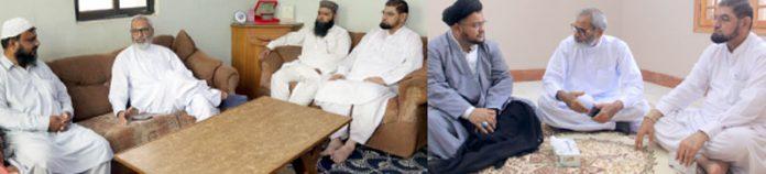 مسلم پرویزویونس بارائی علامہ ناظر عباس تقوی اورمولانا عبدالمنان انور سے ملاقات کررہے ہیں