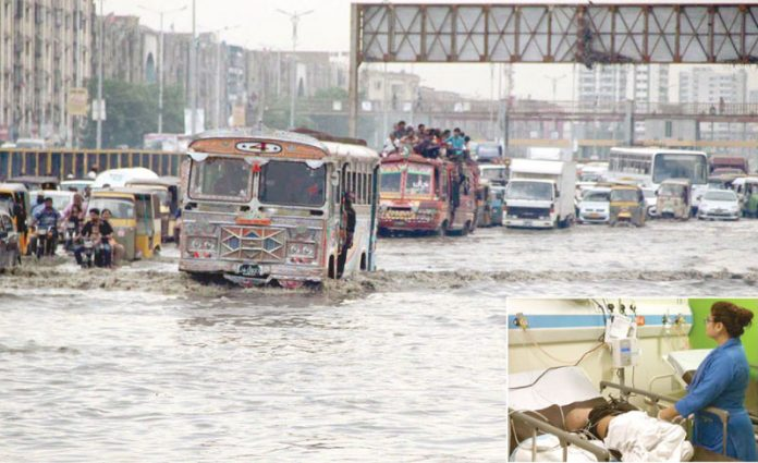 : بارش کے باعث ناگن چورنگی پر پانی جمع ہے جس کے باعث ٹریفک روانی میں مشکلات کا سامناہے ۔چھوٹی تصویر گڑھے میں ڈوبنے والا چوتھا بچہ اسپتال میں زیر علاج ہے
