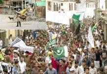 سری نگر: کشمیریوں کی بڑی تعداد کرفیو توڑ پاکستان کا پرچم اٹھائے بھارت کیخلاف احتجاج کررہی ہے ' چھوٹی تصویر میں کرفیو کے دوران ایک سڑک پرقابض اہلکار کتے کے ساتھ پہرہ دے رہا ہے