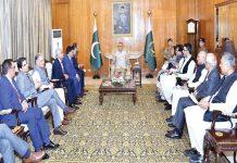 اسلام آباد چیمبر آف کامرس کا وفد صدر عارف علوی سے ملاقات کررہا ہے