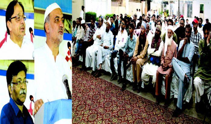 امیر جماعت اسلامی کراچی حافظ نعیم الرحمن الخدمت کے چیف ایگزیکٹو سلیم اظہر اور قاضی صدرالدین ادارہ نورحق میں استقبالیہ تقریب سے خطاب کررہے ہیں