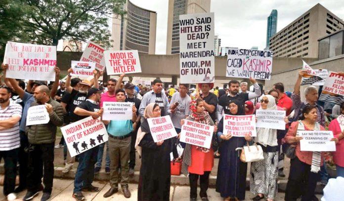 اٹاوا: کشمیریوں سے اظہار یکجہتی اور بھارتی مظالم کیخلاف احتجاج کیا جارہا ہے