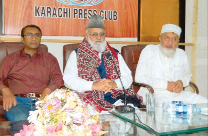 کراچی :سابق امیرجماعت اسلامی آزادوجموں کشمیرو رکن قانون سازاسمبلی عبدالرشید ترابی میٹ دی پریس سے خطاب کر رہے ہیں