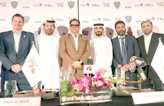 ابو ظبی: ٹی 10کرکٹ لیگ کے حوالے سے اجلاس کے موقع پر شرکاء کا گروپ فوٹو
