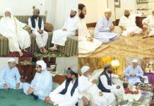 امیر جماعت اسلامی کراچی حافظ نعیم مفتی نعیم، اسفندیار ولی ودیگر علماسے آزادی کشمیر مارچ کے سلسلے میں ملاقات کررہے ہیں