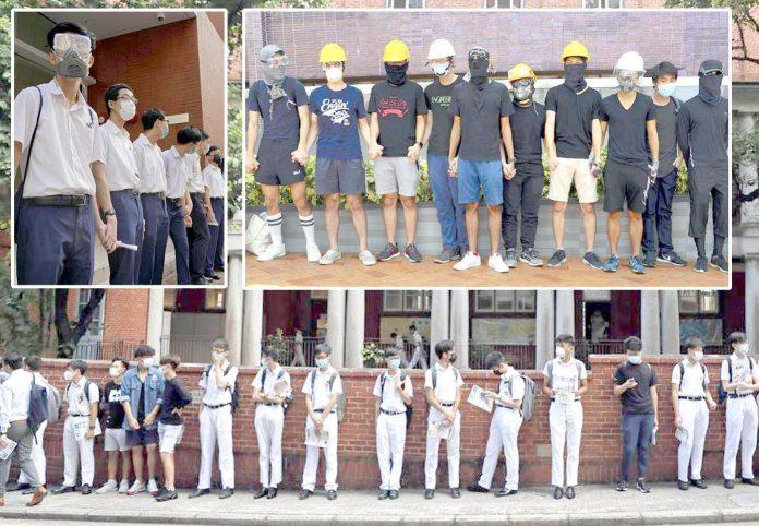 ہانگ کانگ: اسکولوں کے طلبہ ہاتھوں کی زنجیر بنا کر حکومت کے خلاف احتجاج کررہے ہیں
