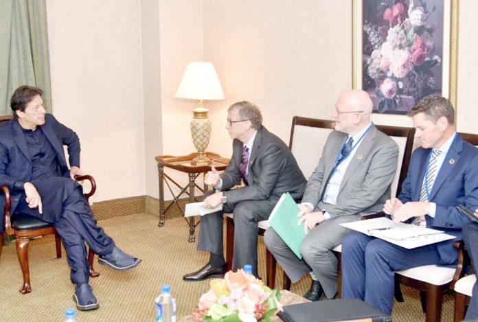 نیویارک،وزیراعظم عمران خان سے بل گیٹس کی سربراہی میں وفد ملاقات کررہاہے