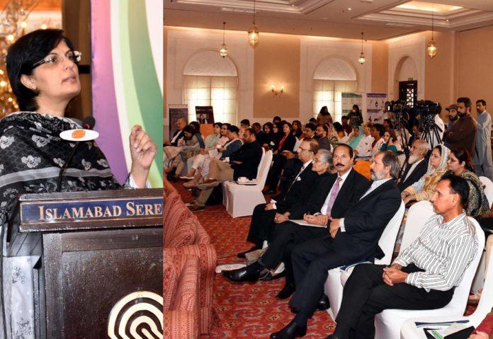 اسلام آباد: وزیراعظم کی معاون خصوصی ثانیہ نشتر خاندانی منصوبہ بندی سے متعلق تقریب رونمائی سے خطاب کررہی ہیں