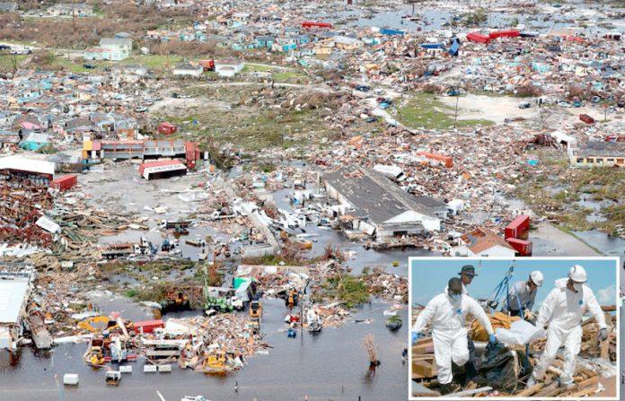 نساؤ: بہاماس میں سمندری طوفان سے ہونے والی تباہی کا منظر، چھوٹی تصویر ملبے سے لاشیں نکالنے کی ہے