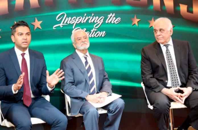 لاہور: ڈومیسٹک اسٹرکچر کی تقریب رونمائی کے موقع پر چیئرمین پی سی بی ایم ڈی وسیم خان اور ہارون رشید خطاب کررہے ہیں