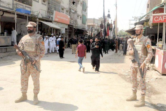 حیدر آباد : نویں محرم الحرام کے حوالے سے لطیف آباد کے علاقے سے جلوس نکالا جارہا ہے