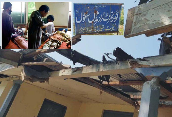کوٹلی: لائن آف کنٹرول فتح پور تھکیالہ میں بھارتی افواج کی بلااشتعال فائرنگ سے زخمی ہونیوالوں کو طبی امداد دی جارہی ہے 'متاثرہ اسکول کی تباہی کا منظر