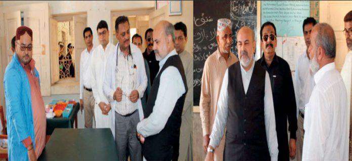 نوشہروفیروز ،کمشنر شہید بینظیر آباد سید محسن علی شاہ مرکز صحت اور ہائی اسکول محبت ویرو جتوئی کا دورہ کررہے ہیں