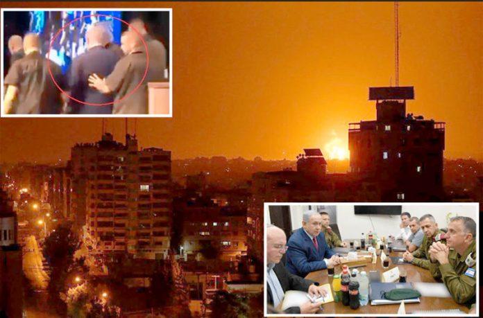 اسرائیلی فضائیہ کے غزہ پر پے در پے حملوں کے بعد آگ کے شعلے بلند ہو رہے ہیں' چھوٹی تصویر صہیونی وزیر اعظم کے خوفزدہ ہوکر فرار ہونے کی ہے