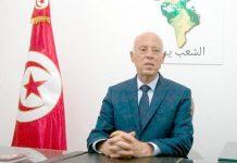 تیونس: پروفیسر سعید قیس پہلے انتخابی مرحلے میں اپنی فتح کے بعد خطاب کررہے ہیں