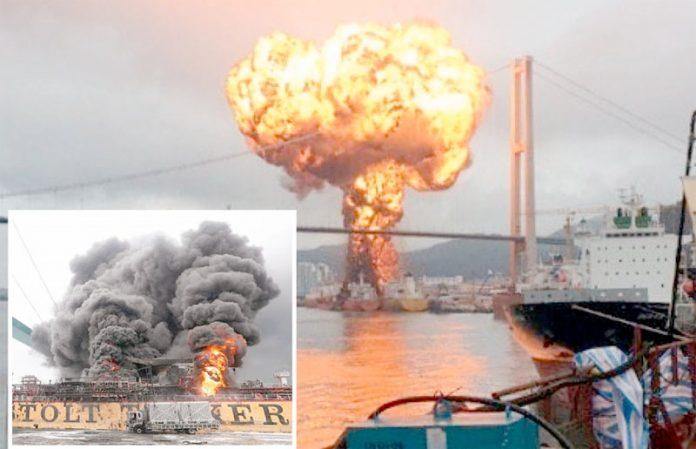 جنوبی کوریا: بندرگاہ پر تیل بردار جہازوں میں تصادم کے بعد ہول ناک شعلے بلند ہو رہے ہیں