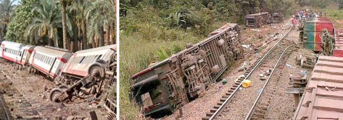 کانگو: ریل گاڑی کو حادثہ پیش آنے کے بعد بوگیاں اور انجن الٹ گیا ہے' عملہ امدادی کارروائیوں میں مصروف ہے