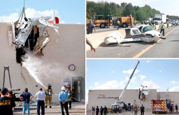 ایریزونا/ میری لینڈ: طیارہ لینڈنگ کے دوران عمارت میں گھس گیا ہے' ہائی وے پر گرنے والے ہوائی جہاز کے گرد پولیس جمع ہے