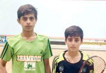 اسلام آباد : انڈر 13،16اسکواش ٹورنامنٹ میں عبداللہ نواز اور محبوب محمود کا پوز