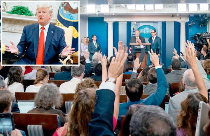واشنگٹن: امریکی صدر ڈونلڈ ٹرمپ، وزیر خارجہ مائیک پومپیو اور وزیر خزانہ اسٹیفن منوچن مشیر قومی سلامتی جان بولٹن کی برطرفی پر وضاحتیں دے رہے ہیں