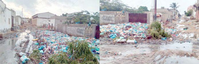 اورنگی ٹاؤن کے مختلف علاقوں میں گلیاں سیوریج کے پانی اور کچرے کی وجہ سے بند پڑی ہے