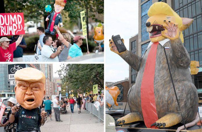 بالٹیمور: ٹرمپ کی آمد پر مظاہرین نے چوہے سمیت صدر کے مختلف مضحکہ خیز پتلے بنا رکھے ہیں