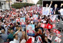تیونس: تحریک النہضہ کے آخری انتخابی جلسے میں بڑی تعداد میں شہری شریک ہیں' راشد الغنوشی اپنے امیدوار عبدالفتاح مورو پر اعتماد کا اظہار کررہے ہیں