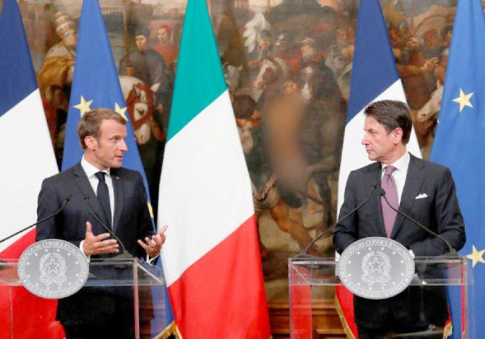 روم: اطالوی وزیراعظم جوزپیے کونٹے اور فرانسیسی صدر عمانویل ماکروں پریس کانفرنس کررہے ہیں