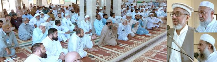 کراچی: نائب امیر جماعت اسلامی پاکستان راشد نسیم ' محمد اسحاق خان اور مولانا ثنا اللہ اجتماع ارکان ضلع غربی سے خطاب کررہے ہیں