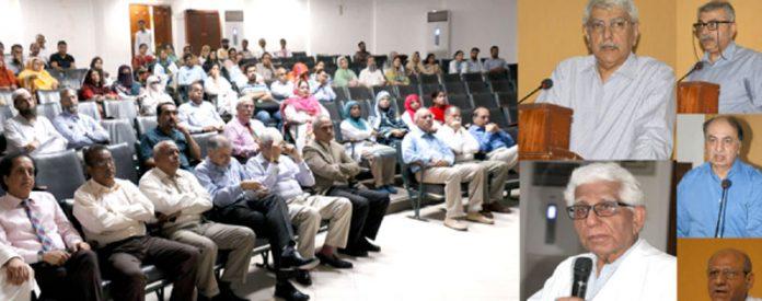 ڈاؤ میڈیکل کالج: پروفیسر محمد سعید قریشی،پروفیسر ادیب رضوی و دیگر تعزیتی اجلاس سے خطاب کر رہے ہیں
