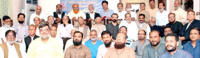 تنظیم بزم شعر و سخن کے تحت منعقدہ مشاعرے میں محسن اعظم ملیح آبادی،رونق حیات و دیگر کا گروپ فوٹو